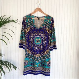 Nicole Miller Boho Paisley Medallion Tunic Dress